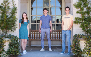 Goldwater Scholars for 2021-22: (from right to left): Samuel Schwartz, Joseph McCalmon, and Ashley Peake posing on WFU campus on 3/29/21