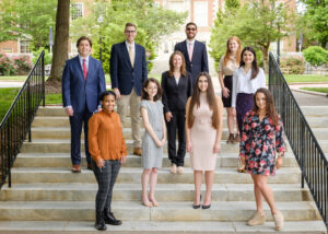 The Wake Forest Fellows for the 2021-22 academic year pose for a group portrait at their initial orientation lunch, on the campus of Wake Forest University, Friday, May 7, 2021.